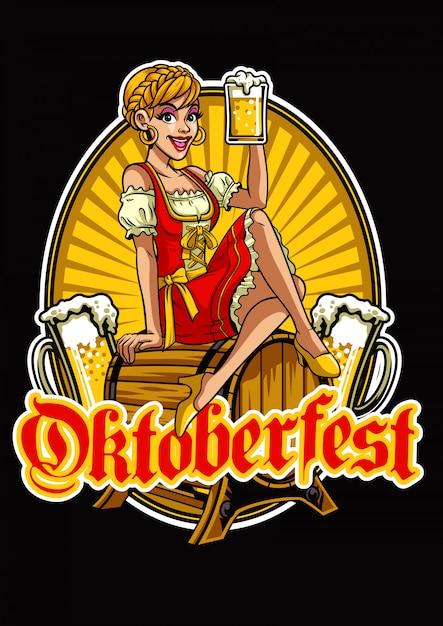 Fille heureuse d'oktoberfest présentant la bière Vecteur Premium