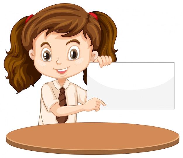 Une fille heureuse avec signe vierge Vecteur gratuit