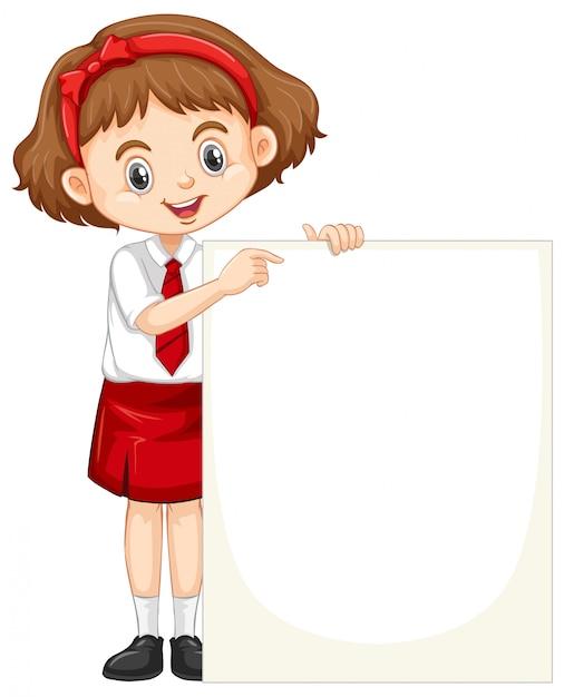 Une fille heureuse avec tableau blanc Vecteur gratuit