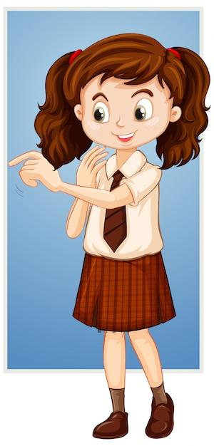 Fille heureuse en uniforme scolaire Vecteur gratuit