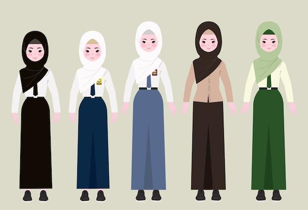 Fille En Hijab Et Uniforme Scolaire. Fille Avec Illustration De Hijab. Vecteur Premium