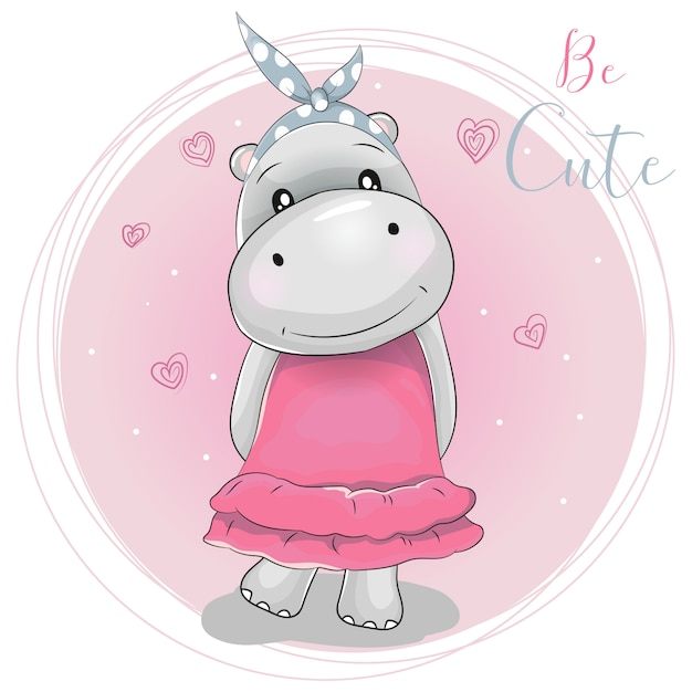 Fille hippo mignon de bande dessinée sur un fond rose Vecteur Premium