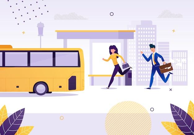 Fille et homme d'affaires en cours d'exécution pour bus près de stop flat cartoon vector illustration. femme, homme, dépêcher, véhicule Vecteur Premium