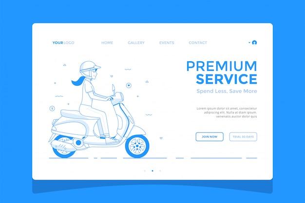 Fille sur une illustration de concept de page d'atterrissage de scooter Vecteur Premium