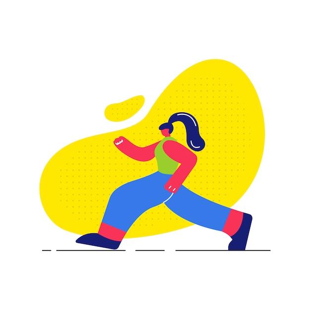 Fille jogging, travaillant à plat illustration Vecteur Premium