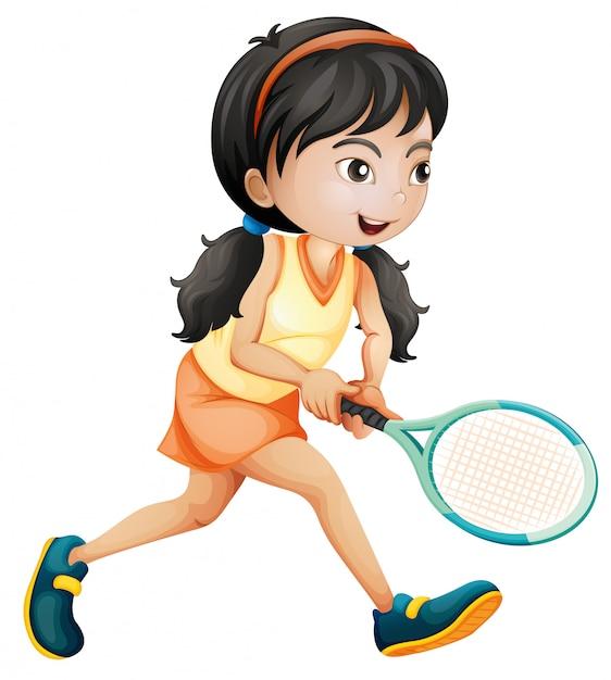 Fille jouant au tennis fond blanc Vecteur gratuit