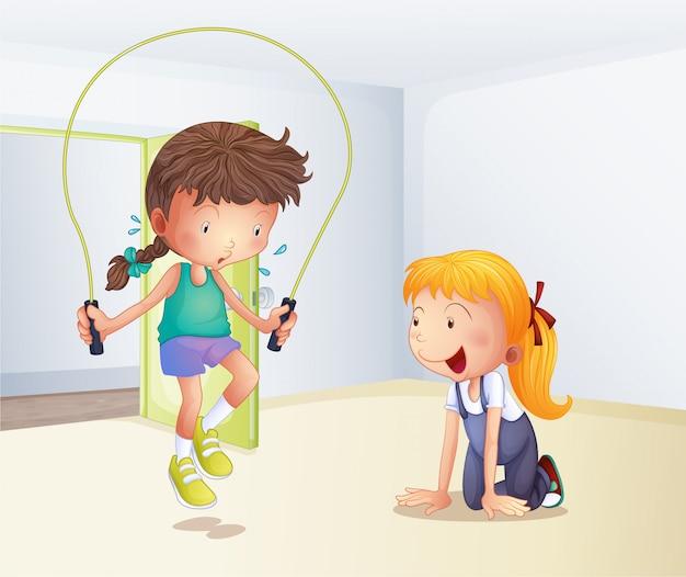 Une fille jouant à la corde à sauter dans la pièce Vecteur Premium