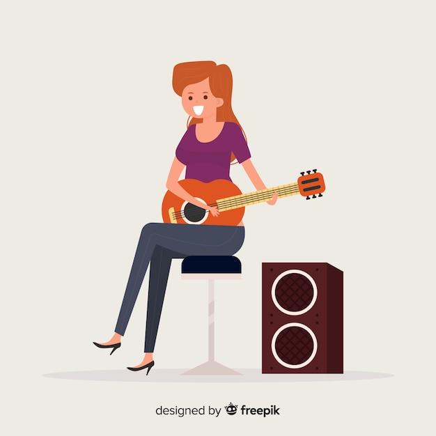 Fille jouant du fond de guitare Vecteur gratuit
