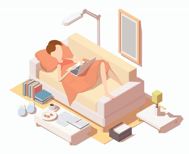 Fille avec laptopat travaillant à la maison sur le canapé. Vecteur Premium
