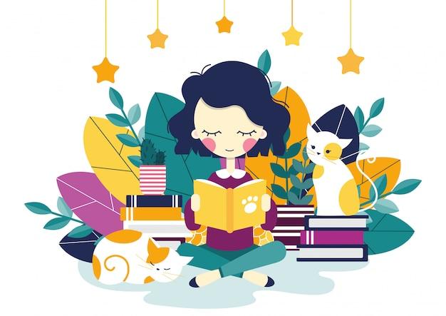 Une fille lecture Vecteur Premium
