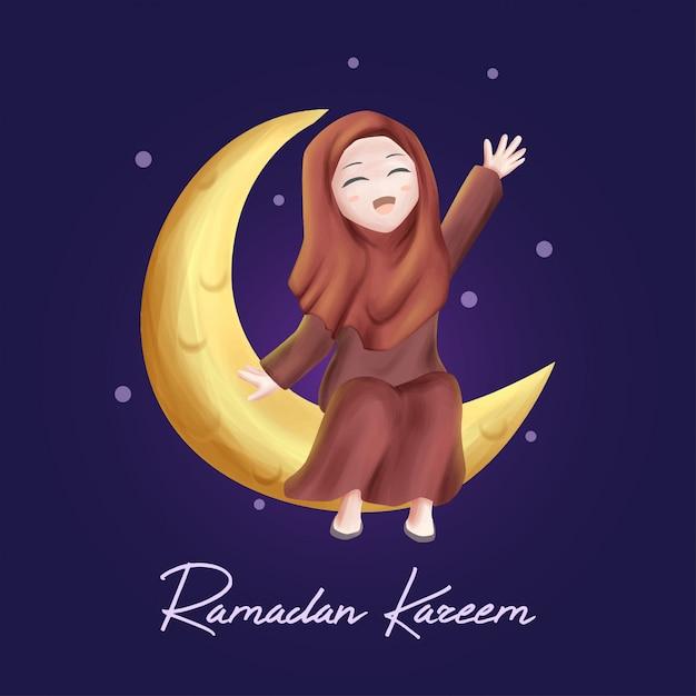 Fille sur la lune dans le ramadan kareem Vecteur Premium