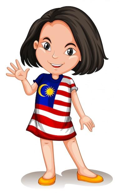 Fille Malaisienne Agitant Bonjour Vecteur gratuit