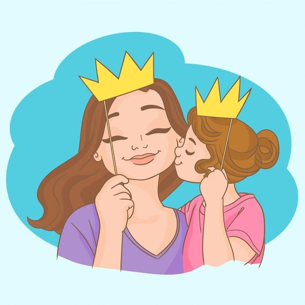 Fille et maman avec des couronnes sur des bâtons Vecteur Premium