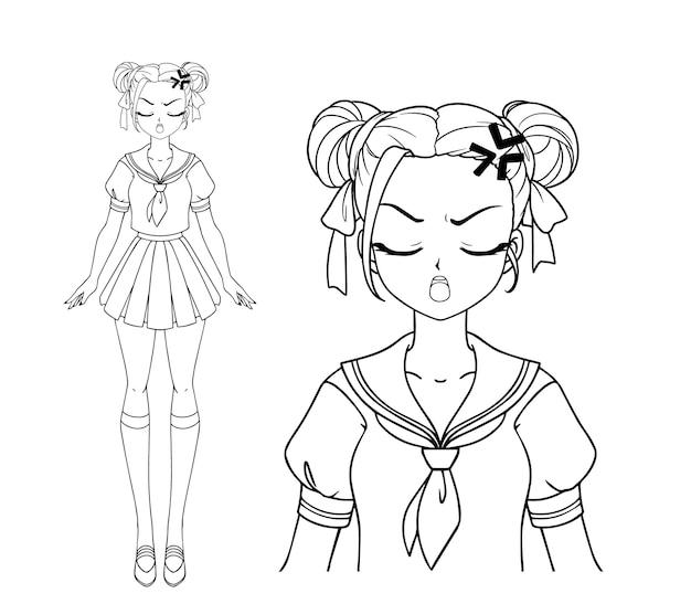 Fille Manga En Colère Avec Et Deux Tresses Portant L'uniforme Scolaire Japonais Vecteur Premium