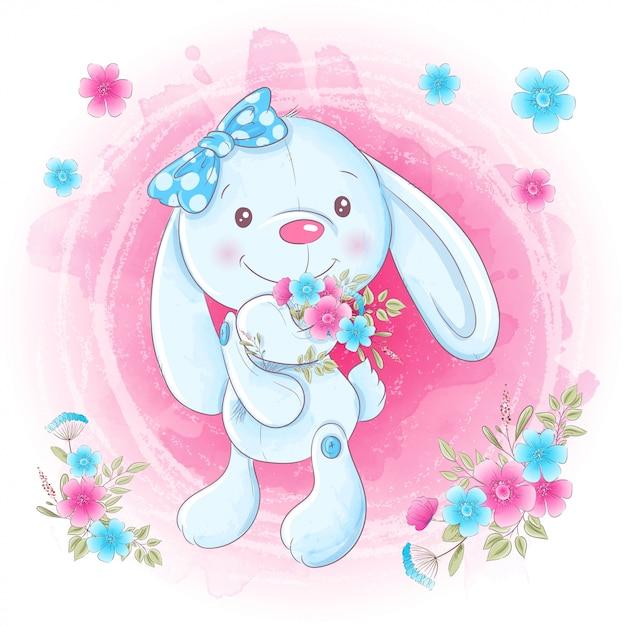 Fille mignonne de lapin de dessin animé avec des fleurs. Vecteur Premium