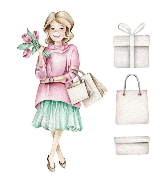 Fille De Mode Avec Des Sacs à Provisions Et Des Fleurs Vecteur Premium