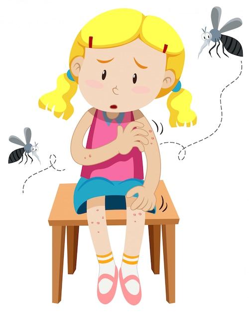 Fille Mordue Par Des Moustiques Vecteur gratuit