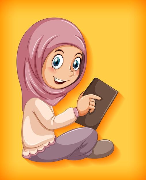 Fille Musulmane Lisant Le Livre Vecteur gratuit