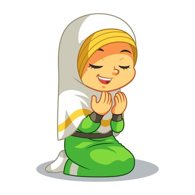 Fille musulmane en prière Vecteur Premium