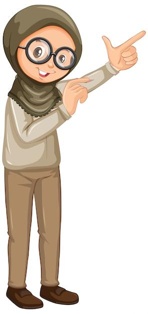 Fille Musulmane En Uniforme De Safari Sur Fond Blanc Vecteur gratuit
