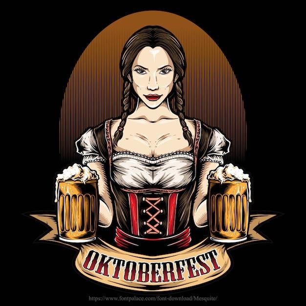 Fille oktoberfest tenant de la bière Vecteur Premium