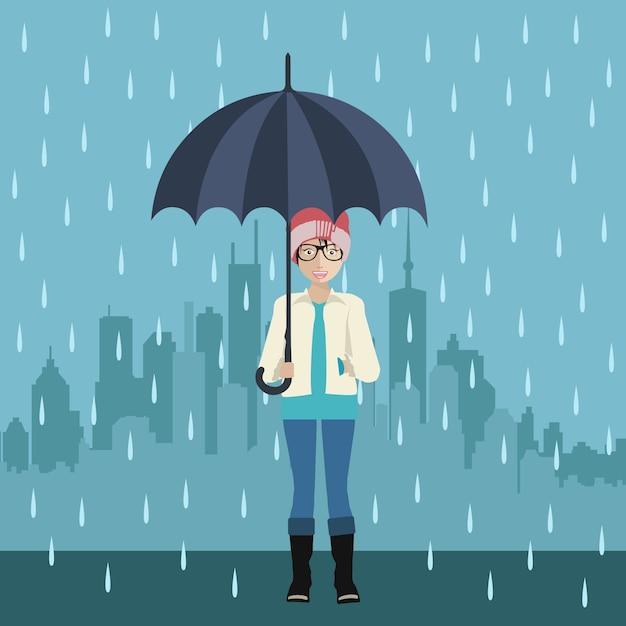 Fille avec le parapluie Vecteur gratuit