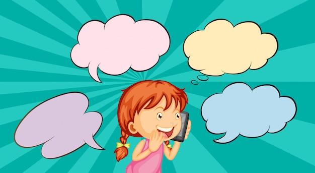 Fille parlant au téléphone Vecteur gratuit