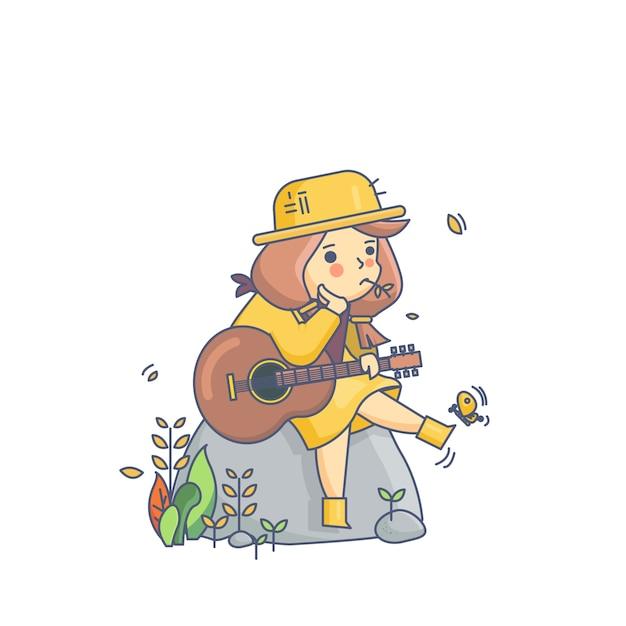 Fille de pays et guitare illustration vectorielle de personnage Vecteur Premium