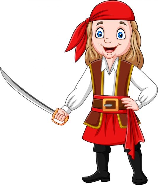 Fille de pirate dessin animé tenant une épée Vecteur Premium