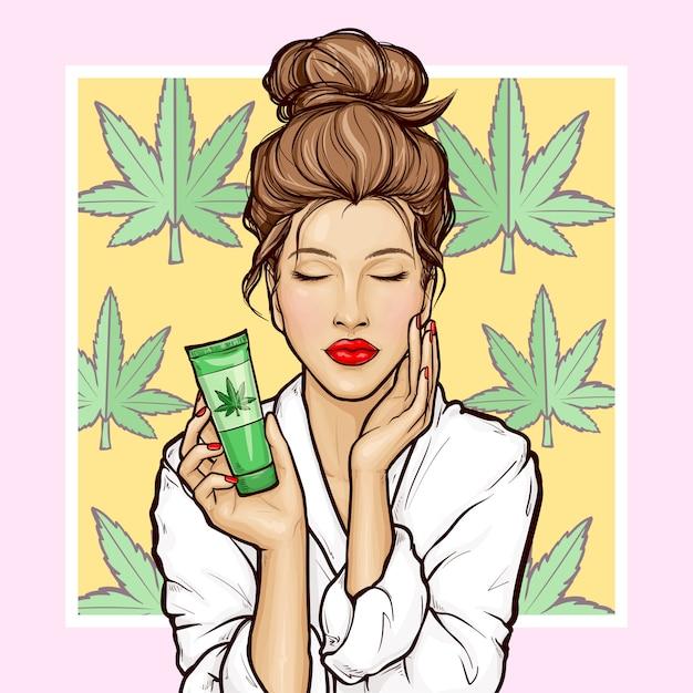 Fille De Pop Art Avec Tube Cosmétique De Cannabis Vecteur gratuit