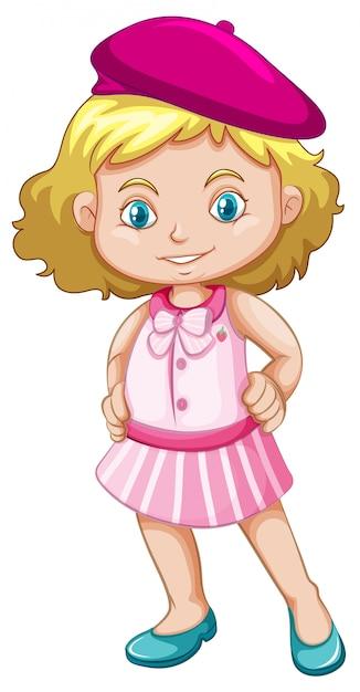 Une fille portant un béret Vecteur Premium
