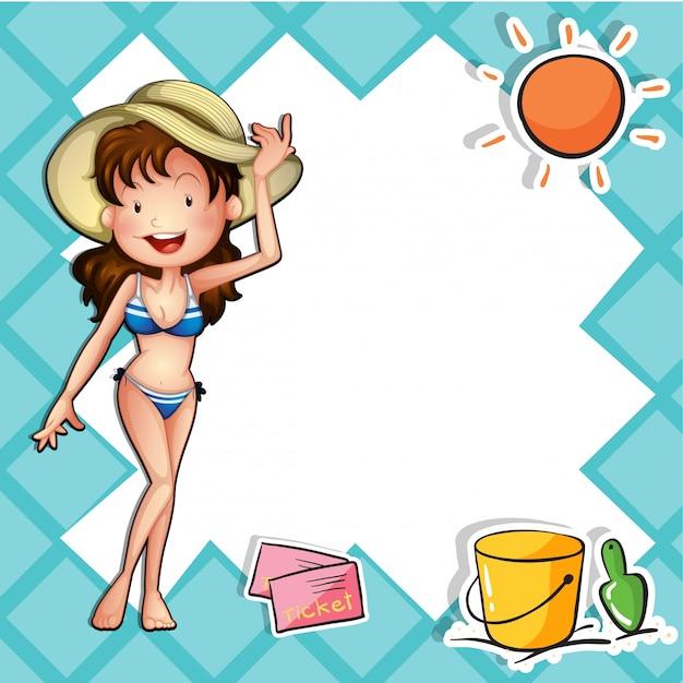 Une Fille Portant Un Bikini Avec Un Chapeau Vecteur gratuit