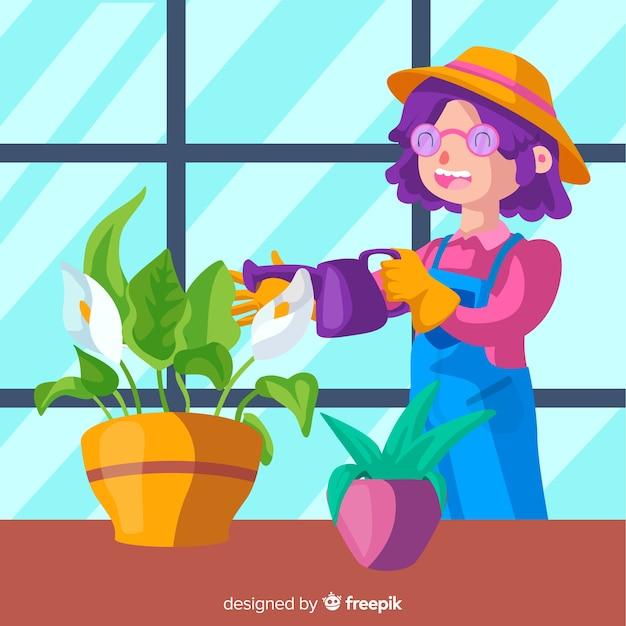 Fille prenant soin des plantes Vecteur gratuit