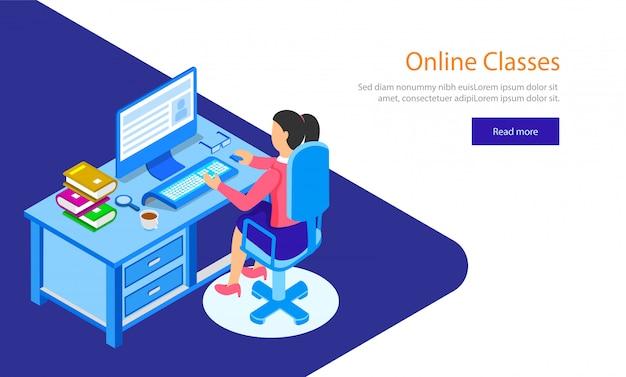 Fille préparant à travers des cours en ligne. Vecteur Premium