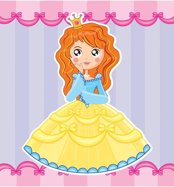 Fille princesse Vecteur Premium