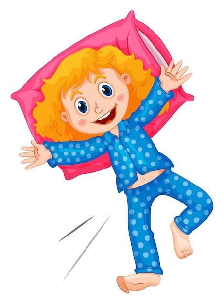 Fille en pyjama bleu à pois Vecteur Premium