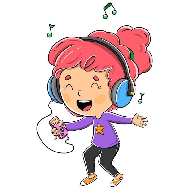 Fille qui écoute de la musique avec des écouteurs Vecteur Premium