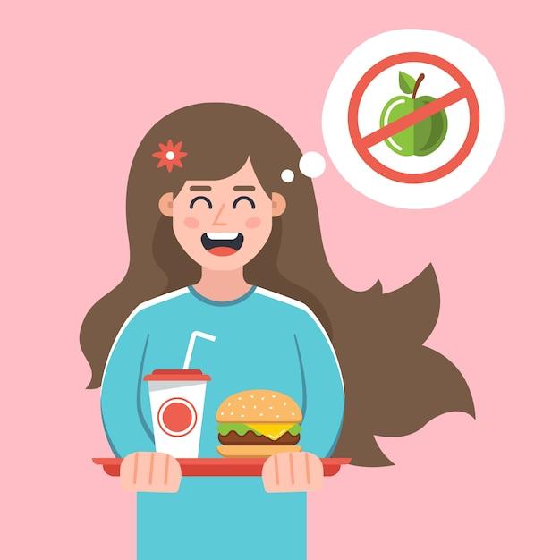 La Fille A Refusé Un Régime Et S'est Achetée Un Fast-food. Mode De Vie Dangereux. Illustration De Caractère Plat. Vecteur Premium