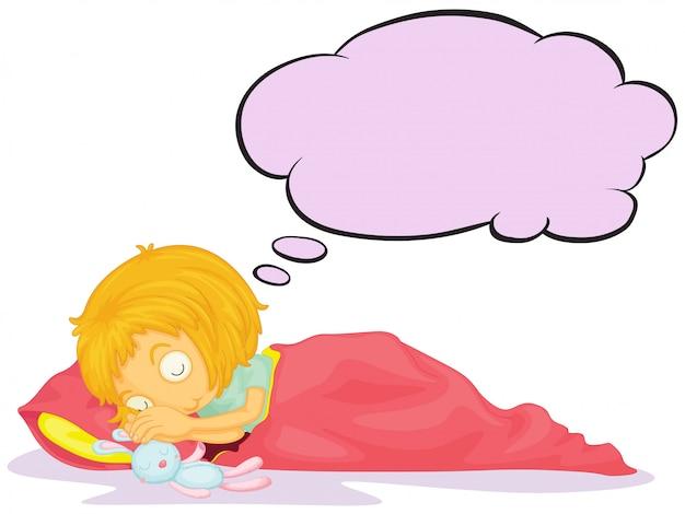 Une fille rêvant avec une légende vide Vecteur gratuit