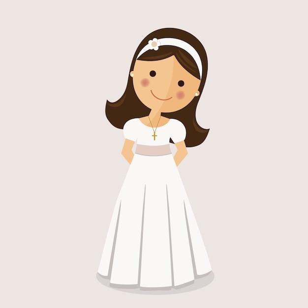 Fille avec une robe de communion sur fond ocre Vecteur Premium