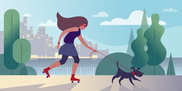 Fille sur des rouleaux promener un chien sur le quai de la ville Vecteur Premium