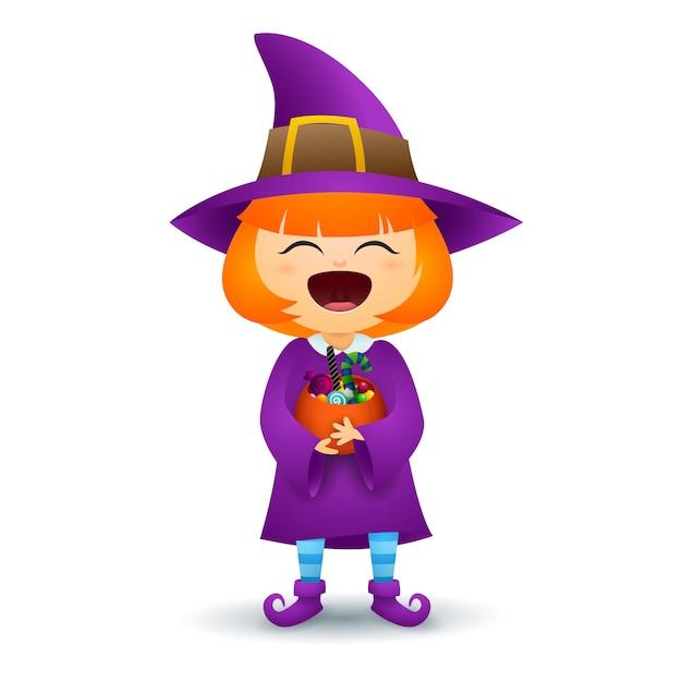 Fille rousse en costume de sorcière Vecteur gratuit