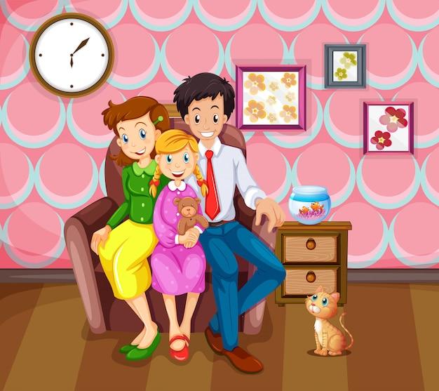 Fille et sa famille dans le salon Vecteur gratuit