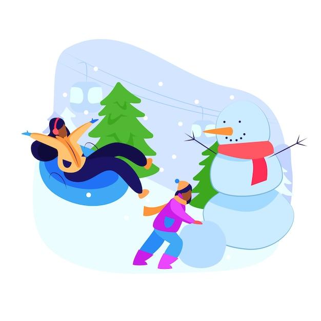 Fille et sa mère profitant d'activités d'hiver Vecteur gratuit