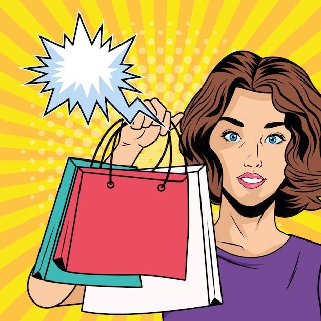 Fille avec des sacs à provisions et personnage de style bulle pop art Vecteur Premium
