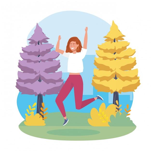 Fille sautant avec des vêtements décontractés et des pins Vecteur gratuit
