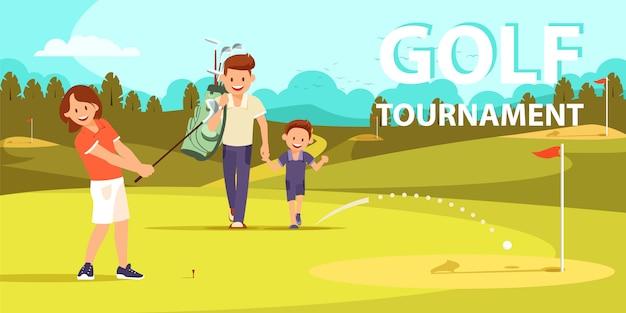 Fille se préparant à un autre coup dans le jeu de golf. Vecteur Premium