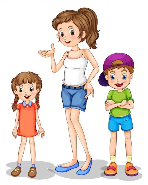 Une fille et ses frères et soeurs Vecteur gratuit
