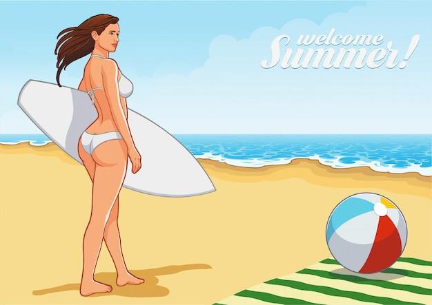 Fille sexy de surf sur la plage Vecteur Premium