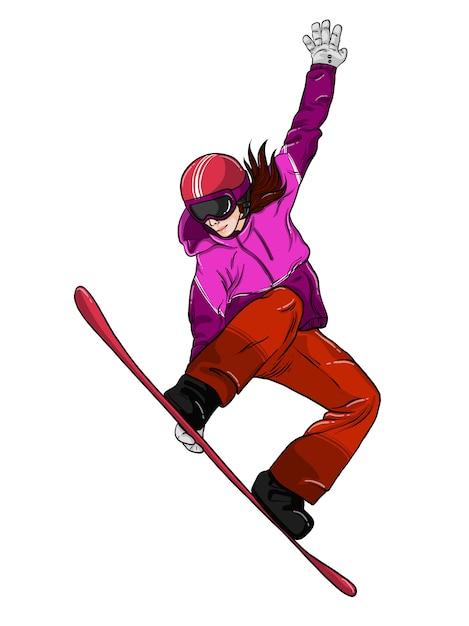 Fille de snowboard Vecteur Premium